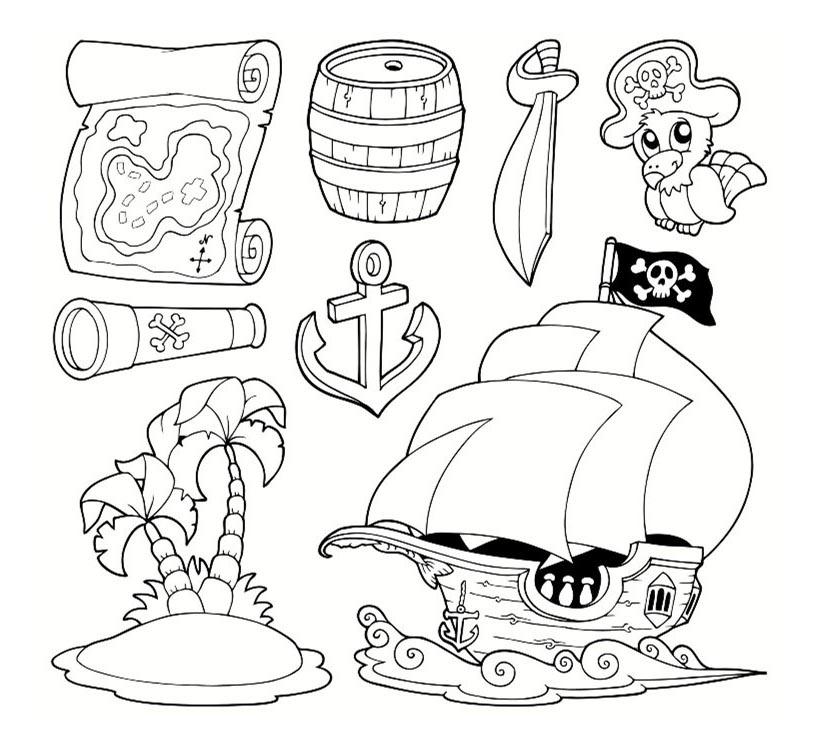 objets de pirates colorier coloriages de pirates imprimer - Coloriage De Pirate