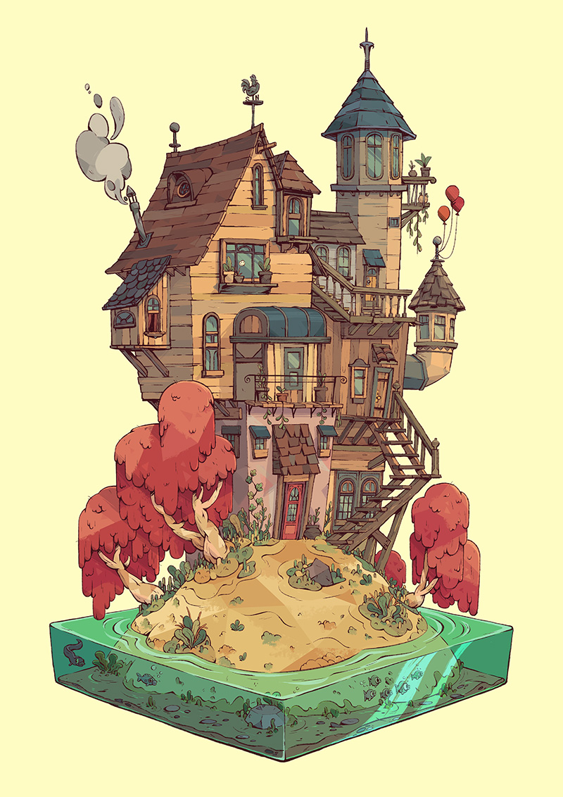 Les maisons & &#23... Isometric Dream House Drawing