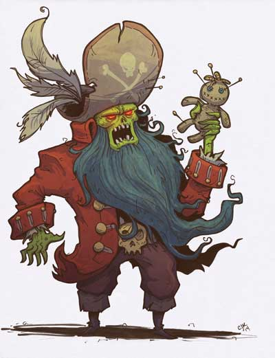 Ink and digital LeChuck par Cam Kendell Monkey Island