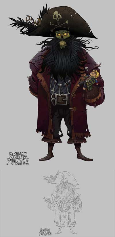 The mighty and scary LeChuck, the ghostly pirate! par David Puerta Altes Monkey Island