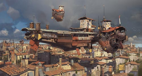 Alongside the Bunker Barge - Ian MCQUE - Steampunk pirates