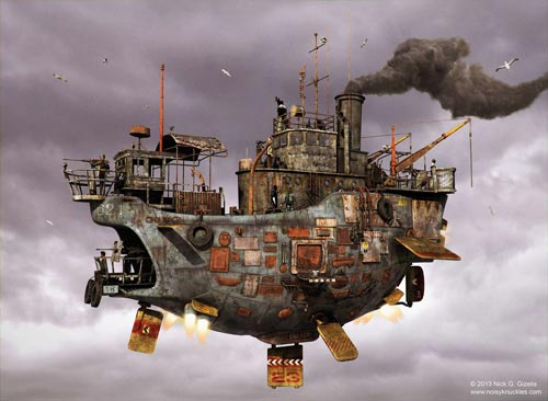 Floating Ship Concept par Nick Gizelis - Steampunk pirates