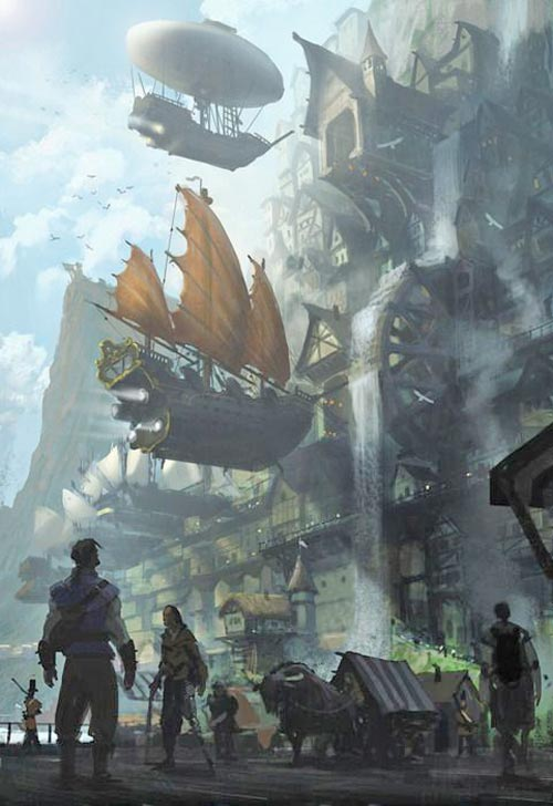 The city of Alkon - Steampunk pirates