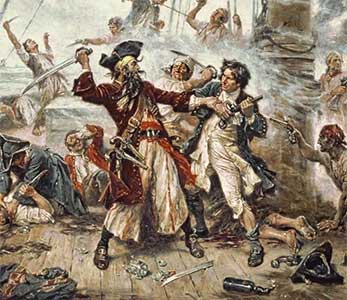 Capture of the Pirate, Blackbeard, 1718. Peint par Jean Léon Gérome FERRIS en 1920